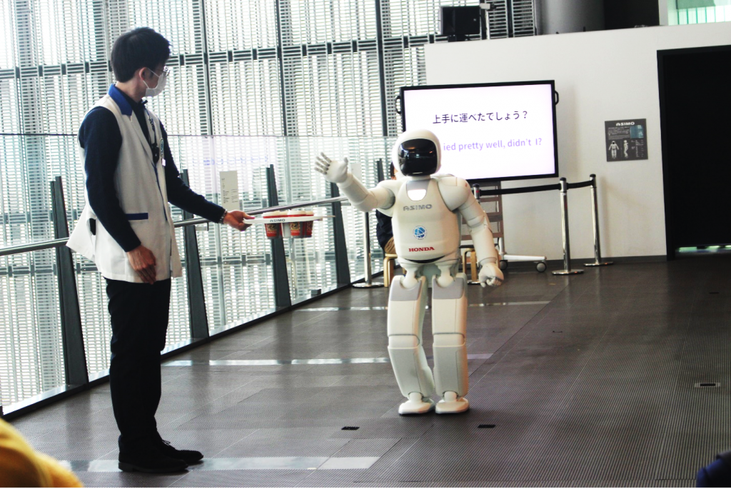 """ASIMO showing his """"tricks"""" during the demonstration"""